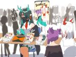 ... 3girls 6+others arknights bare_shoulders caught chair collared_dress commentary dragon_girl dragon_horns dragon_tail dress dusk_(arknights) highres horns kawaii_inu5 lava_(arknights) looking_at_another manga_(object) mask multicolored_hair multiple_girls multiple_others necktie nian_(arknights) pointy_ears purple_hair red_eyes red_neckwear redhead siblings sisters sitting spoken_ellipsis sweat table tail translation_request white_dress white_hair