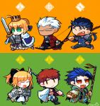 2girls 4boys abs ahoge archer_(fate) armor armored_dress artist_name artoria_pendragon_(all) blonde_hair blue_hair bow_(weapon) caliburn_(fate) chibi closed_eyes commentary_request crown cu_chulainn_(fate)_(all) cu_chulainn_(fate/stay_night) dark_skin earrings emiya_shirou excalibur_(fate/stay_night) eyebrows_visible_through_hair fang fate/grand_order fate_(series) gae_bolg_(fate) green_background green_eyes hair_bun highres holding holding_bow_(weapon) holding_polearm holding_spear holding_sword holding_weapon jewelry long_sleeves multiple_boys multiple_girls open_mouth orange_background orange_hair polearm ponytail red_eyes saber saber_lily senji_muramasa_(fate) setanta_(fate) simple_background smile soran_ten spear sword tongue two-tone_background watermark weapon white_hair