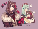!? ... 2girls animal_ears arknights bangs bear_ears beige_sweater_vest blue_eyes blue_hair blue_nails blue_neckwear brown_hair brown_headwear brown_jacket brown_sailor_collar brown_shirt character_name commentary_request cropped_torso dated earphones earphones expressionless fang fur-trimmed_jacket fur_trim hair_ornament hand_on_another's_head hat istina_(arknights) jacket kawaii_inu5 long_hair looking_at_viewer medium_hair monocle multicolored_hair multiple_girls multiple_views nail_polish neckerchief off_shoulder open_mouth purple_background red_neckwear red_pupils redhead sailor_collar school_uniform serafuku shirt simple_background spoken_ellipsis spoken_interrobang star_(symbol) star_hair_ornament streaked_hair sweatdrop upper_body yellow_shirt yellow_sweater_vest zima_(arknights)
