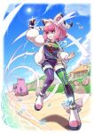 1girl arm_up asymmetrical_legwear bangs bracelet breasts building clenched_hands clenched_teeth clouds collared_shirt commentary_request day dynamax_band eire_(sai_fuji) eyelashes eyeshadow fur_jacket galarian_form galarian_slowbro galarian_slowpoke gen_2_pokemon gen_8_pokemon gloves grass highres jacket jewelry klara_(pokemon) knees lens_flare makeup mismatched_legwear mole mole_under_mouth number outdoors partially_fingerless_gloves pink_eyeshadow pink_hair pink_lips pokemon pokemon_(creature) pokemon_(game) pokemon_swsh ring sand shirt shoes shore shorts single_glove skarmory sky standing sun teeth thigh-highs violet_eyes water water_drop white_jacket