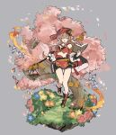 1girl :o absurdres bag bangs blue_flower book boots breasts bug bush butterfly detached_sleeves flower genshin_impact grey_background hair_between_eyes hat highres holding holding_book horns insect long_hair open_mouth orange_flower papajay_(jennygin2) pink_flower pink_hair red_flower simple_background small_breasts solo tree weighing_scale yanfei_(genshin_impact)