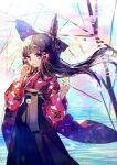 1girl absurdres bangs black_hakama blunt_bangs bow brown_eyes brown_hair bubble bubble_blowing bubble_pipe commentary_request eyebrows_visible_through_hair frilled_bow frills hair_bow hakama hakurei_reimu half_updo hands_up highres hinasumire japanese_clothes kimono long_hair long_sleeves looking_at_viewer red_bow red_kimono sketch solo touhou very_long_hair wide_sleeves wind