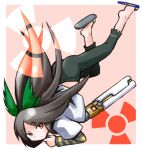 alternate_weapon arm_cannon barefoot bow brown_hair casual hair_bow kugelschreiber long_hair red_eyes reiuji_utsuho sandals solo touhou weapon