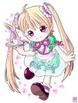 blonde_hair child cup heart hinowa_you long_hair original pink_eyes rainbow smile solo teacup tray twintails