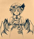 bat_wings brooch cuffs dress eating eyebrows_behind_hair food frilled_dress frills graphite_(medium) hat hat_ribbon highres jewelry mob_cap plate pointy_ears pudding remilia_scarlet ribbon sendai_(nazonomono) slit_pupils spoon thick_eyebrows touhou traditional_media vampire wings