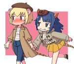 2girls armadillo_ears armadillo_tail beret blonde_hair blue_eyes blue_hair blush brown_coat brown_eyes brown_headwear capri_pants casual coat commentary_request cowboy_shot denim extra_ears eyebrows_visible_through_hair giant_armadillo_(kemono_friends) giant_pangolin_(kemono_friends) grey_jacket hat highres holding_hands hood hood_down jacket jeans kemono_friends kemono_friends_3 long_coat long_hair long_sleeves looking_at_another looking_away multiple_girls nose_blush official_alternate_costume pangolin_ears pangolin_tail pants pleated_skirt pozesuke shirt short_hair short_sleeves skirt smile white_shirt yellow_skirt