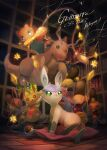 >_< ampharos blush character_doll clothed_pokemon commentary_request dragonite eevee flying gen_1_pokemon gen_2_pokemon gen_4_pokemon gen_5_pokemon glaceon green_eyes hatted_pokemon highres holding indoors kikuyoshi_(tracco) leafeon meowth mew mythical_pokemon open_mouth poke_ball poke_ball_(basic) pokemon red_sweater scraggy shelf signature sparkle standing sweater tongue umbreon upper_teeth