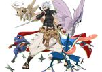 1boy belt black_belt bug chipp_zanuff croagunk crossover gen_1_pokemon gen_3_pokemon gen_4_pokemon gen_6_pokemon greninja guilty_gear guilty_gear_strive highres holding holding_poke_ball insect japanese_clothes makai male_focus muscular muscular_male pectorals poke_ball pokemon red_eyes shedinja simple_background sleeveless spiky_hair standing toeless_footwear venomoth weapon white_background white_hair wings