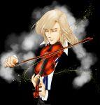 1boy bishounen black_background black_suit bow_(instrument) closed_eyes instrument klaus_sommerschmitt long_hair music orpheus_no_mado playing_instrument simple_background solo violin yuumi_yu