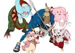 1boy absurdres audino bag bag_over_head bent_over blissey blue_pants blue_shirt crossover delibird dracovish egg faust_(guilty_gear) gen_2_pokemon gen_5_pokemon gen_7_pokemon gen_8_pokemon gloves guilty_gear guilty_gear_strive hat highres holding holding_poke_ball makai male_focus mimikyu nurse_cap on_head pants paper_bag poke_ball pokemon pokemon_(creature) polearm shirt shoes simple_background sneakers stethoscope syringe weapon white_background white_gloves