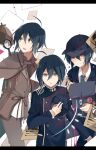 3boys ahoge bag bangs black_bag black_headwear black_jacket brown_capelet brown_eyes brown_jacket brown_pants buttons capelet collared_shirt commentary_request dangan_ronpa_(series) dangan_ronpa_v3:_killing_harmony detective double-breasted hair_between_eyes headwear_removed jacket letterboxed long_sleeves looking_at_viewer magnifying_glass male_focus monokuma multiple_boys multiple_persona official_alternate_costume open_mouth pants qiao_xing saihara_shuuichi school_uniform shirt short_hair simple_background striped striped_neckwear upper_body white_background white_shirt