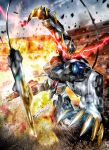 charging_forward claws explosion glowing glowing_eyes gundam gundam_barbatos gundam_barbatos_lupus_rex gundam_tekketsu_no_orphans mecha mechanical_tail mobile_suit motion_blur no_humans open_hand science_fiction solo tail twisted_torso v-fin youiki