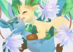 brown_eyes commentary_request crying eye_contact fangs flower from_side gen_4_pokemon glaceon green_eyes kikuyoshi_(tracco) leafeon looking_at_another no_humans open_mouth paws pokemon pokemon_(creature) purple_flower tears toes tongue water_drop