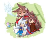 >_< 3girls akagi_(azur_lane) alternate_costume amagi_(azur_lane) animal_ears azur_lane bangs blunt_bangs blush brown_hair commentary_request eyebrows_visible_through_hair fox_ears fox_girl fox_tail from_above giving_up_the_ghost hair_ornament hair_tubes hand_fan hot japanese_clothes kaga_(azur_lane) kyuubi long_hair long_sleeves lying multiple_girls multiple_tails open_mouth pleated_skirt putimaxi short_hair sidelocks skirt sleeping sleeping_on_person steam sweat tail tatami thick_eyebrows wavy_mouth white_hair wide_sleeves