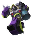 1boy absurdres beard clenched_hand constructicon construction_worker decepticon drum_(container) facial_hair highres jeetdoh mecha mixmaster oil red_eyes running transformers transformers_animated white_background