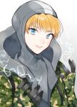 1girl apex_legends bangs blonde_hair blue_eyes bodysuit camouflage camouflage_jacket cookie_galo electricity grey_bodysuit grey_headwear highres hood hooded_jacket jacket looking_at_viewer open_hands parted_lips portrait ribbed_bodysuit scar scar_on_cheek scar_on_face solo wattson_(apex_legends) white_background