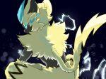 absurdres commentary_request electricity from_behind furry gen_7_pokemon green_eyes highres looking_back mythical_pokemon pokemon pokemon_(creature) sinobu_(miiik_sinobu) sitting solo yellow_fur zeraora