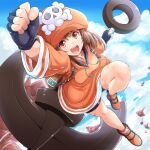 1girl :d anchor arm_up backpack bag bangs bike_shorts blue_sky brown_eyes brown_hair cabbie_hat clenched_hand clouds cloudy_sky fingerless_gloves fist_pump full_body gloves guilty_gear guilty_gear_strive hat highres jacket kitayama_miuki may_(guilty_gear) open_mouth orange_footwear orange_headwear orange_jacket pirate_hat shorts skull_and_crossbones sky smile solo upper_teeth