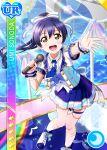 blue_hair blush brown_eyes character_name dress long_hair love_live!_school_idol_festival love_live!_school_idol_project ponytail smile sonoda_umi