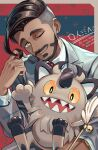 1boy black_hair buttons cat_teaser closed_mouth collared_shirt earrings facial_hair galarian_form galarian_meowth gen_8_pokemon green_eyes grey_jacket hair_twirling jacket janis_(hainegom) jewelry male_focus necktie one_eye_closed pokemon pokemon_(creature) pokemon_(game) pokemon_swsh red_neckwear rose_(pokemon) shiny shiny_hair shirt short_hair smile symbol-only_commentary undercut watch watch white_shirt