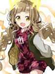 1girl :d bangs blonde_hair braid fang hair_between_eyes highres jacket komo_wan110 letterman_jacket little_red_riding_hood_(sinoalice) long_hair long_sleeves looking_at_viewer open_mouth reality_arc_(sinoalice) red_jacket simple_background sinoalice smile solo twin_braids white_background yellow_eyes