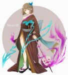 1boy 99tkmo absurdres bangs bare_shoulders beige_background brown_hair brown_kimono bug butterfly closed_mouth flip-flops full_body green_butterfly green_eyes gretel_(sinoalice) hair_between_eyes hair_ornament hansel_(sinoalice) highres holding holding_instrument insect instrument japanese_clothes kimono looking_at_viewer otoko_no_ko sandals shamisen short_hair sinoalice smile solo two-tone_background white_background white_legwear