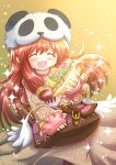 1girl :d bag bangs blush brown_dress brown_hair cheese closed_eyes commentary_request commission cowboy_shot dress eyebrows_visible_through_hair food highres holding holding_food kiritaki lettuce long_hair meat merchant_(ragnarok_online) open_mouth panda_hat ragnarok_online sandwich sidelocks skeb_commission sleeves_past_wrists smile solo sparkle yellow_background
