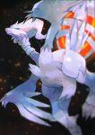black_background blue_eyes blurry claws closed_mouth commentary_request embers fire gen_5_pokemon highres kikuyoshi_(tracco) legendary_pokemon no_humans pokemon pokemon_(creature) reshiram solo white_fur