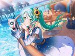 bang_dream! blush dress green_eyes green_hair hikawa_sayo long_hair ponytail