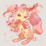 alternate_color blush brown_eyes commentary_request flower framed gen_4_pokemon grey_background highres kikuyoshi_(tracco) leafeon looking_at_viewer no_humans paws petals pink_flower pokemon pokemon_(creature) toes