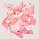 ;d alternate_color blush brown_eyes commentary_request flower framed full_body gen_4_pokemon glaceon grey_background highres kikuyoshi_(tracco) no_humans one_eye_closed open_mouth paws petals pink_flower pokemon pokemon_(creature) smile solo toes tongue