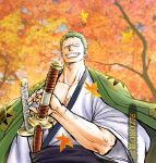 1boy drawing_sword earrings from_below green_hair grin haori holding holding_sword holding_weapon japanese_clothes jewelry katana kimono kokorozashi long_sideburns looking_at_viewer male_cleavage male_focus muscular muscular_male official_alternate_costume one_piece pectorals roronoa_zoro scar scar_on_chest short_hair sideburns single_earring smile solo sword upper_body weapon white_kimono