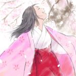 1girl arms_at_sides black_hair branch cherry_blossoms closed_eyes dappled_sunlight eyelashes flat_chest floating_hair floral_print flower hakama happy head_back japanese_clothes kaguya-hime_no_monogatari kaguya_hime kimono laughing light lowres medium_hair messy_hair nature open_mouth petals pink_flower profile red_hakama sakai_yume simple_background sleeves_past_fingers sleeves_past_wrists solo spring_(season) straight_hair sunlight teeth tree upper_body upper_teeth white_background
