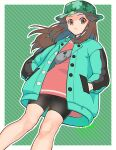 1girl bike_shorts border brown_eyes brown_hair bucket_hat buttons camouflage camouflage_headwear closed_mouth coat commentary dress floating_hair green_coat grey_bag hair_flaps hands_in_pockets hat highres kikuyoshi_(tracco) knees leaf_(pokemon) long_hair long_sleeves official_alternate_costume open_clothes open_coat outside_border pink_dress pokemon pokemon_(game) pokemon_masters_ex short_dress signature solo white_border