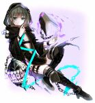 1boy bangs black_footwear book boots brown_hair cage chain closed_mouth crossdressinging floating full_body green_eyes gretel_(sinoalice) hair_between_eyes hansel_(sinoalice) highres long_sleeves looking_at_viewer otoko_no_ko short_hair simple_background sinoalice smile solo thigh-highs thigh_boots towada-san_(thank39) white_background