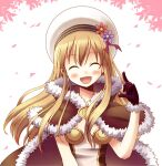 1girl :d bangs blonde_hair blush brown_cape brown_dress brown_gloves cape closed_eyes commentary_request doridori dress eyebrows_visible_through_hair flower fur-trimmed_cape fur-trimmed_gloves fur_trim gloves hair_between_eyes hat high_wizard_(ragnarok_online) leaves_in_wind long_hair open_mouth pink_flower purple_flower ragnarok_online smile solo two-tone_dress upper_body white_background white_dress white_headwear