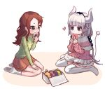 2girls absurdres bangs beads biting blue_ribbon blunt_bangs blush brown_hair brown_skirt capelet commentary_request doughnut dress eating elma_(maidragon) eyebrows_visible_through_hair food foodification frilled_dress frills green_eyes green_shirt hair_beads hair_ornament hair_ribbon hand_on_own_knee hand_up hands_up heart highres holding holding_food horns ilulu_(maidragon) kanna_kamui kobayashi-san_chi_no_maidragon kobayashi_(maidragon) korean_commentary long_hair low_twintails lucoa_(maidragon) mixed-language_commentary multiple_girls multiple_sources no_shoes nose_blush objectification pastry_box pink_dress pink_shirt plus_no_p ribbon saikawa_riko seiza shiny shiny_hair shirt sidelocks silver_hair sitting skirt socks tail thigh-highs tohru_(maidragon) twintails v-shaped_eyebrows wariza white_background white_legwear