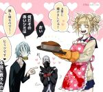 1girl 2boys :d apron bangs black_bodysuit black_shirt blonde_hair blunt_bangs blush blush_stickers bodysuit boku_no_hero_academia brown_cardigan bubaigawara_jin cake cardigan collarbone commentary_request double_bun eyebrows_visible_through_hair fangs food grey_bodysuit grey_hair hand_on_own_face hand_up heart holding long_sleeves messy_hair multiple_boys open_mouth own_hands_together pink_apron pink_background pointing_at_another shigaraki_tomura shiny shiny_hair shirt short_hair smile toga_himiko tomoya_(10mymn10_mha) translation_request twitter_username white_background yellow_eyes