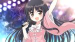 1girl arm_up bangs black_hair blouse blue_background blurry blurry_background blush bow bowtie breasts brown_eyes collar eyebrows_visible_through_hair flashlight hands_up houraisan_kaguya light long_hair long_sleeves looking_at_viewer medium_breasts microphone multicolored multicolored_background open_mouth pink_blouse purple_background smile solo star_(symbol) starry_background touhou usagi_koushaku white_bow white_neckwear wide_sleeves yellow_background