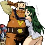 1girl 2boys ass ass_grab black_hair blue_eyes breasts china_dress chinese_clothes choudenji_robo_combattler_v dress elbow_gloves giant_robo giant_robo_(mecha) ginrei_(giant_robo) gloves kusama_daisaku large_breasts long_hair multiple_boys nishikawa_daisaku open_mouth puchidori simple_background smile white_background