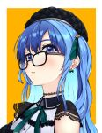 1girl appleofmyeye beret black_choker black_headwear blue_eyes bow bow_earrings choker colored_inner_hair earrings glasses hat highres hololive hoshimachi_suisei jewelry lace lace_choker lace_sleeves light_blush long_hair looking_at_viewer multicolored_hair neck_ribbon one_side_up portrait ribbon solo star_(symbol) star_in_eye symbol_in_eye virtual_youtuber yellow_background