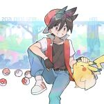 1boy backwards_hat bangs baseball_cap blue_pants blush brown_shirt commentary_request dated fingerless_gloves gen_1_pokemon gloves grin hair_between_eyes hat headpat highres jacket male_focus number open_clothes open_jacket pants pikachu poke_ball poke_ball_(basic) pokemon pokemon_adventures rata_(m40929) red_(pokemon) red_eyes shiny shiny_hair shirt shoes short_hair short_sleeves sitting smile teeth white_footwear