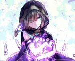 1boy bangs black_gloves brown_hair brown_hood cage closed_mouth gloves glowing green_eyes gretel_(sinoalice) hair_between_eyes hansel_(sinoalice) highres looking_at_viewer looking_to_the_side otoko_no_ko short_hair simple_background sinoalice sleeveless smile solo towada-san_(thank39) white_background