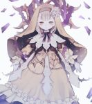 1girl bangs beads blonde_hair blunt_bangs blush briar_rose_(sinoalice) dim00 dress flower frilled_dress frills highres looking_at_viewer open_mouth outstretched_arms parted_lips plant ribbon rose short_hair simple_background sinoalice thorns veil vines white_background yellow_eyes