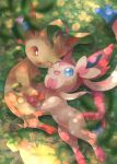 ;d blue_eyes blurry brown_eyes commentary_request from_above gen_4_pokemon gen_6_pokemon grass highres kikuyoshi_(tracco) leaf leafeon no_humans one_eye_closed open_mouth paws pokemon pokemon_(creature) smile sylveon toes tongue
