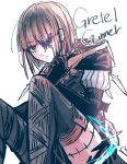 1boy asymmetrical_legwear bangs black_gloves black_pants brown_hair brown_hood bug butterfly closed_mouth covering_one_eye elbow_gloves gloves green_eyes gretel_(sinoalice) hair_between_eyes highres insect looking_at_viewer otoko_no_ko pants purple_butterfly short_hair simple_background sinoalice solo thigh-highs towada-san_(thank39) uneven_legwear v-shaped_eyebrows white_background