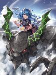 1girl blue_eyes blue_hair braid cake character_request chewing clouds dai-xt day dragon eating flat_chest flying food fork highres horns kuro_no_shoukanshi long_hair looking_at_viewer outdoors plate pleated_skirt riding skirt sky solo white_horns