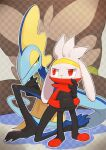 checkered checkered_background closed_mouth commentary_request eye_contact gen_8_pokemon hands_in_pockets highres inteleon kikuyoshi_(tracco) kneeling looking_at_another looking_back outline pokemon pokemon_(creature) raboot red_eyes signature smile standing yellow_eyes