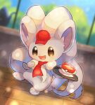 :d blurry cinccino commentary_request cup gen_5_pokemon hat hatted_pokemon highres holding holding_tray kikuyoshi_(tracco) liquid mug necktie no_humans open_mouth paws poke_ball_print pokemon pokemon_(creature) pokemon_cafe_mix red_headwear red_neckwear signature smile solo standing steam toes tongue tray wooden_floor