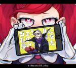1boy 1girl bangs black_cape blush boku_no_hero_academia cape commentary_request covering_mouth eyebrows_visible_through_hair facial_hair gloves grey_hair hands_up heart heart-shaped_pupils holding holding_phone jewelry la_brava letterboxed long_hair mask mouth_mask mustache phone pink_eyes pointy_ears ponytail portrait redhead scarf surgical_mask swept_bangs symbol-shaped_pupils tobita_danjuro tomoya_(10mymn10_mha) translation_request twitter_username weapon white_gloves yellow_background